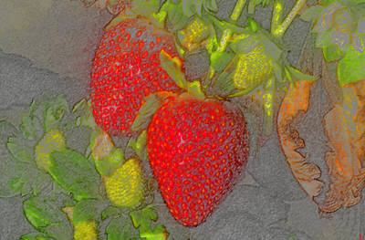 Strawberry Digital Art - Two Strawberries by David Lee Thompson