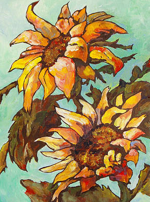 Sunflower Painting - Two Sunflowers by Sandy Tracey