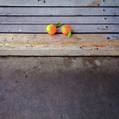 Tangerines Photograph - Two Tangerines by Sarah Palmer