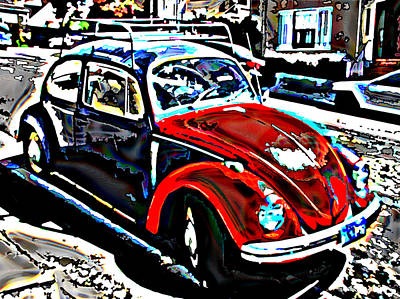 Two Toned Vw Beetle Print by Samuel Sheats