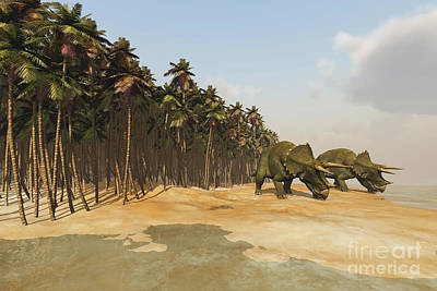 Triassic Digital Art - Two Triceratops Come Down To A Lake by Corey Ford