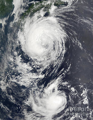 Two Typhoon Systems Approaching The Far Print by Stocktrek Images