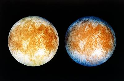 Two Views Of Europa From The Galileo Spacecraft Print by Nasa