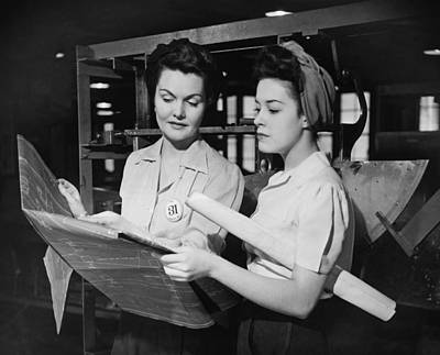 Two Women In Workshop Looking At Blueprints, (b&w) Print by George Marks