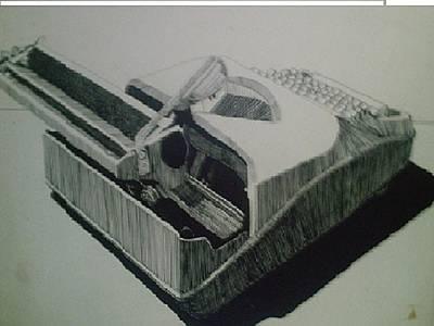 Typewriter Drawing - Typewriter In Ink by Rayma Sawyers