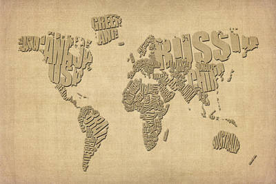 Typographic Text Map Of The World Print by Michael Tompsett