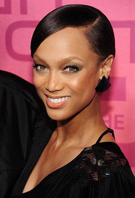 Hair Bun Photograph - Tyra Banks At Arrivals For The Cw by Everett