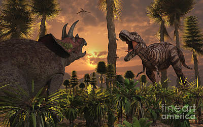 Tyrannosaurus Rex And Triceratops Meet Print by Mark Stevenson
