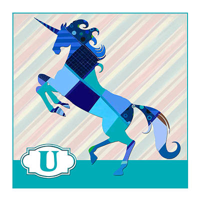 Education Painting - U Is For Unicorn by Elaine Plesser