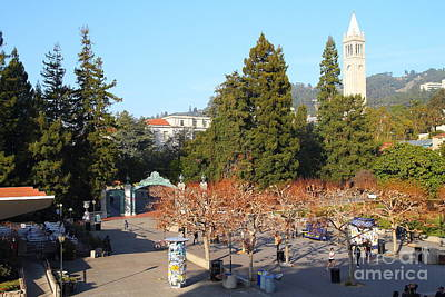 Uc Berkeley . Sproul Plaza . Sather Gate And Sather Tower Campanile . 7d10000 Print by Wingsdomain Art and Photography