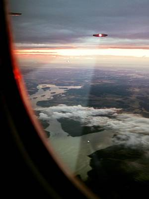 Unexplained Photograph - Ufos Scanning An Aircraft by Richard Kail