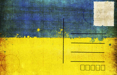 Ukraine Flag Postcard Print by Setsiri Silapasuwanchai