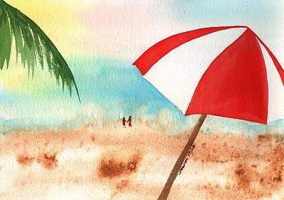 Baseball Cap Painting - Umbrella On The Beach by Sharon Mick