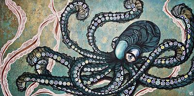 Acrylic Painting - Underwater  by Julia  Kropinova