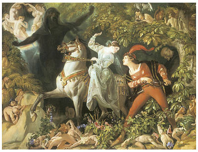 Women On Horses Painting - Undine And The Wood Demon by Daniel Maclise