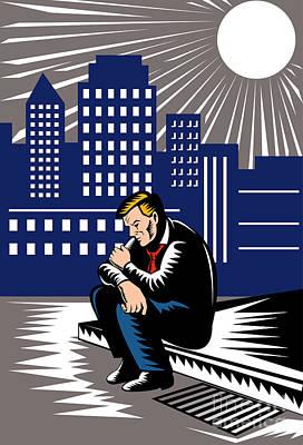 Unemployed Male Worker Sidewalk Print by Aloysius Patrimonio