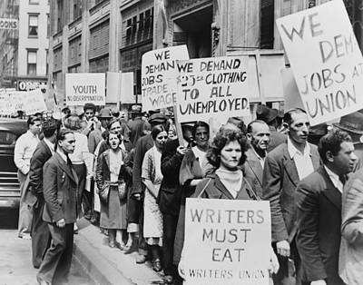 Unemployed New Yorkers Demonstrate Print by Everett