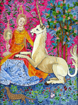 Unicorn And The Lady Print by Phil Strang