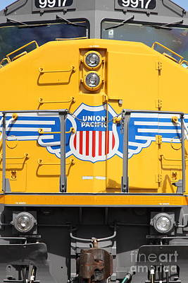 Train Tracks Photograph - Union Pacific Locomotive Train - 5d18645 by Wingsdomain Art and Photography