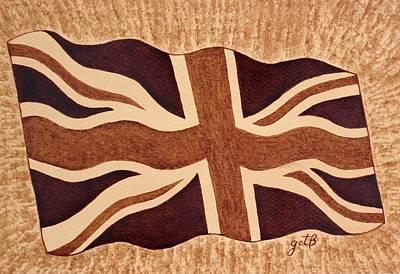 United Kingdom Flag Coffee Painting Print by Georgeta  Blanaru