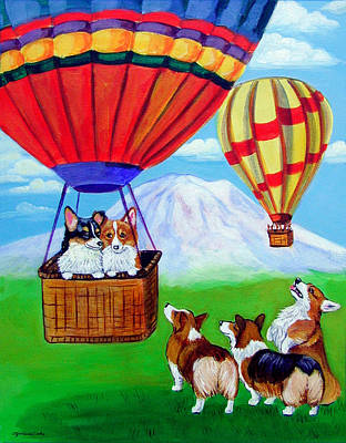 Hot Air Painting - Up Up And Away - Pembroke Welsh Corgi by Lyn Cook