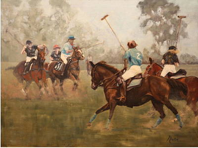 Heather Burton Painting - Upcountry Polo by Heather Burton