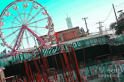Urban Ferris Wheel With Tinted Sky Print by Christy Borgman