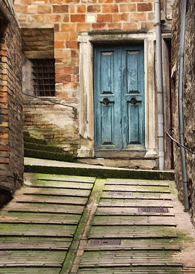 Urbino Door And Stairs Print by Sharon Foster