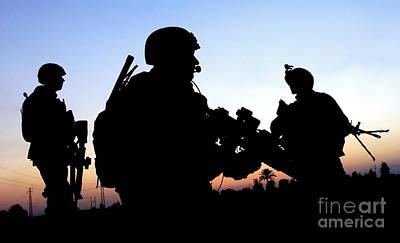 U.s. Air Force Members Conduct A Patrol Print by Stocktrek Images