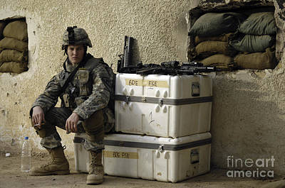 U.s. Army Soldier Relaxing Before Going Print by Stocktrek Images