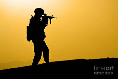 U.s. Army Soldier Secures An Area Print by Stocktrek Images