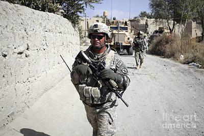 U.s. Army Soldiers On A Foot Patrol Print by Stocktrek Images