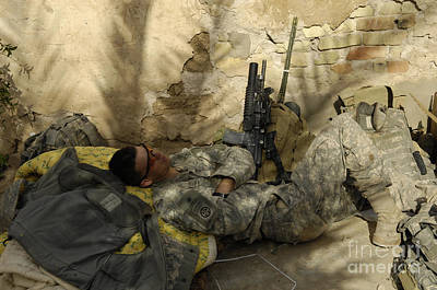 Minotaur Photograph - U.s. Army Specialist Takes A Nap by Stocktrek Images