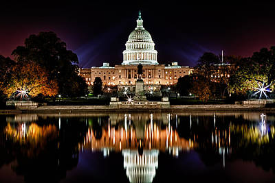 Us Capitol Building And Reflecting Pool At Fall Night 2 Print by Val Black Russian Tourchin