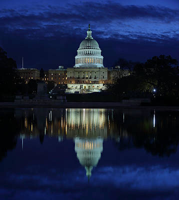 Us Capitol - Pre-dawn Getting Ready Print by Metro DC Photography