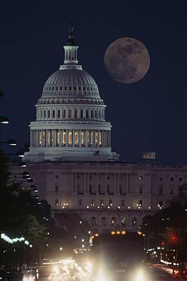 U.s. Capitol With Moon, Night View Print by Richard Nowitz