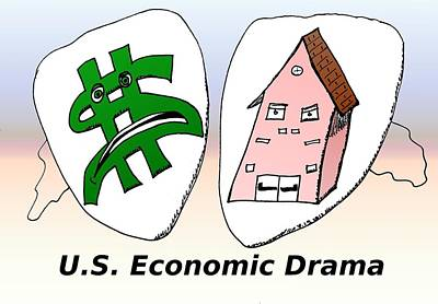 Data Mixed Media - Us Economic Drama Cartoon by OptionsClick BlogArt