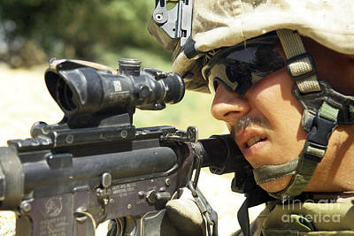 Telescopic Image Photograph - U.s. Marine Providing Security by Stocktrek Images