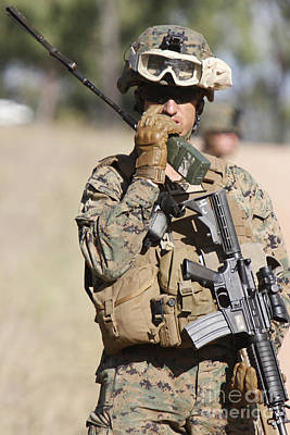 Hamels Photograph - U.s. Marine Radios His Units Movements by Stocktrek Images