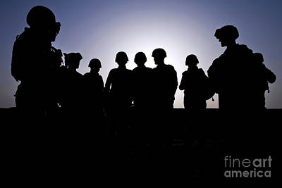 Gathering Photograph - U.s. Marines And Civilian Contractors by Stocktrek Images