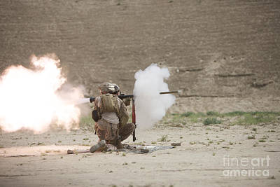 Rpg Photograph - U.s. Marines Fire A Rpg-7 Grenade by Terry Moore