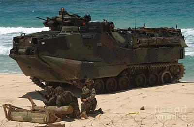 U.s. Marines Guard Their Amphibious Print by Stocktrek Images