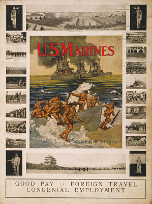 U.s. Marines Recruitment Poster Showing Print by Everett