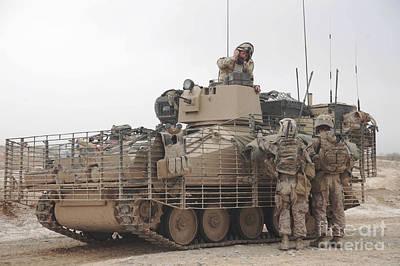 U.s. Marines Talk With A British Print by Stocktrek Images