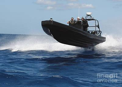 U.s. Navy Sailors Operate A Nine-meter Print by Stocktrek Images