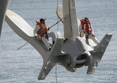 U.s. Navy Servicemen Apply A Coat Print by Stocktrek Images