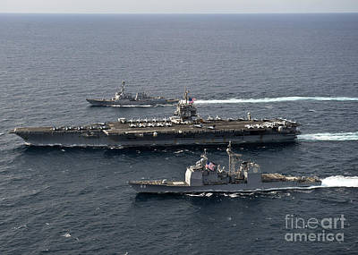 U.s. Navy Ships Transit The Atlantic Print by Stocktrek Images