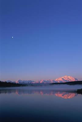 Usa, Alaska, Mount Mckinley As Seen From Wonder Lake After Sunrise Print by Paul Souders