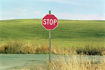 Usa, Washington, Palouse, Stop Sign On Country Road Print by Mel Curtis