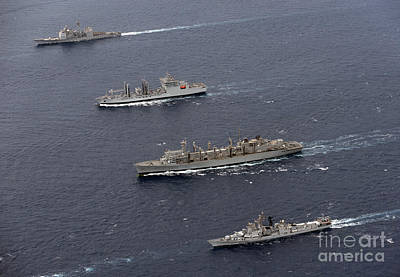 Shakti Photograph - Uss Bunker Hill, Ins Shakti, Usns by Stocktrek Images